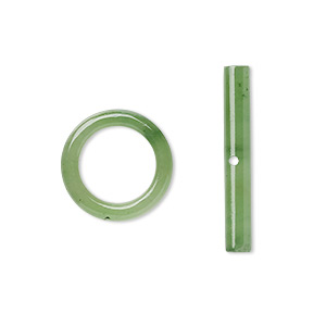 clasp, toggle, nephrite jade (natural), 15mm round, b grade, mohs hardness 6 to 6-1/2. sold individually.