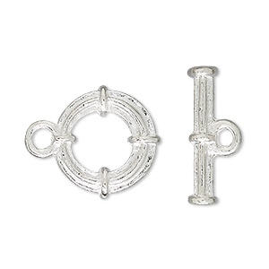 clasp, toggle, silver-finished brass, 16mm round with bands. sold per pkg of 10.