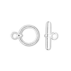 clasp, toggle, silver-plated brass, 13mm smooth round. sold per pkg of 100.