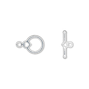 clasp, toggle, silver-plated pewter (zinc-based alloy), 10x9mm round with heart. sold per pkg of 10.