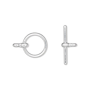 clasp, toggle, silver-plated pewter (zinc-based alloy), 12mm smooth round. sold per pkg of 10.
