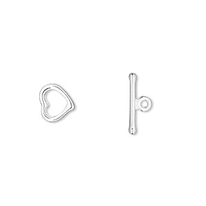 clasp, toggle, silver-plated pewter (zinc-based alloy), 8x8mm heart with no loop. sold per pkg of 10.