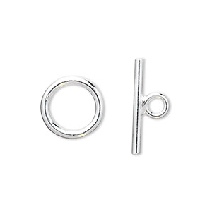 clasp, toggle, sterling silver, 13mm smooth round. sold individually.