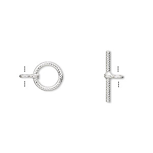 clasp, toggle, sterling silver, 8.5mm ribbed round. sold per pkg of 2.