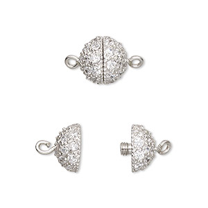 clasp, twist-in, cubic zirconia and rhodium-plated sterling silver, clear, 10mm textured round. sold individually.