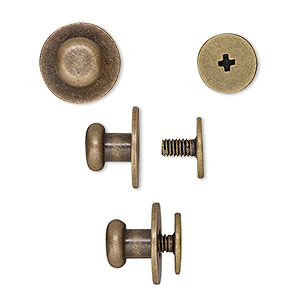 clasp, twist-in rivet, antique brass-plated brass, 12x9mm with 7mm flat round and 3mm shank. sold per pkg of (2) 2-piece sets.
