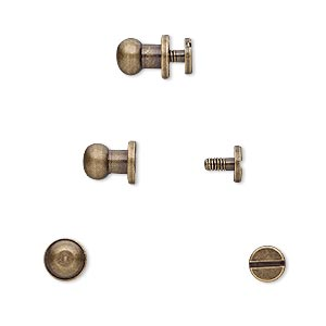 clasp, twist-in rivet, antique brass-plated brass, 8.5x6mm with 5mm round and 2mm shank. sold per pkg of (4) 2-piece sets.