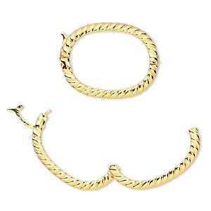 clasp, twister with safety, gold-plated brass, 24x18mm hinged double-sided braided oval. sold individually.