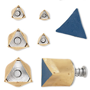 clay cutter, kemper, brass, 9mm-27mm assorted triangle with built-in pop-out tool. sold per 5-piece set.