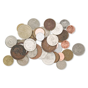 coin mix, mixed metal, 16-31mm circulated foreign mixed styles. sold per 1/2 pound pkg, approximately 40-45 coins.
