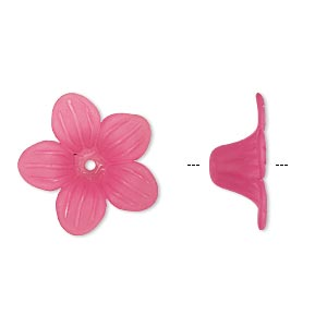 component, acrylic, frosted fuchsia, 24x10mm flower. sold per pkg of 50.