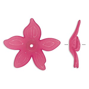 component, acrylic, frosted fuchsia, 25x5mm flower. sold per pkg of 50.