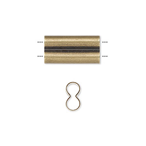 component, antique brass-plated brass, 18x9mm double tube with 3.5mm hole. sold per pkg of 20.