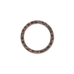 component, antique copper-plated steel, 20mm double-sided hammered open flat round. sold per pkg of 10.