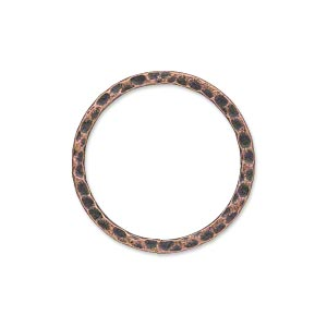 component, antique copper-plated steel, 25mm double-sided hammered open flat round. sold per pkg of 10.