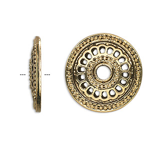 component, antique gold-finished pewter (zinc-based alloy), 23mm single-sided fancy flat round, 4mm hole. sold per pkg of 6.