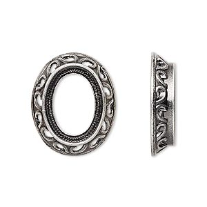 component, antique silver-plated brass, 22x18.5mm oval with swirl design and 16x12mm oval setting. sold per pkg of 4.