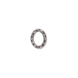 component, antique silver-plated steel, 12x10mm double-sided hammered open flat oval. sold per pkg of 12.