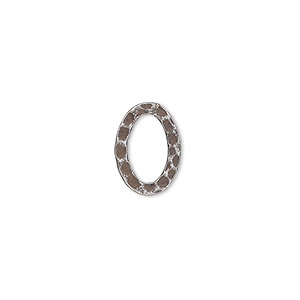 component, antique silver-plated steel, 14x10mm double-sided hammered open flat oval. sold per pkg of 12.