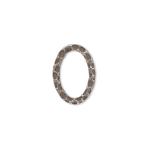 component, antique silver-plated steel, 18x13mm double-sided hammered open flat oval. sold per pkg of 12.