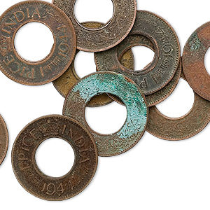component, antiqued copper, 21mm round genuine east indian coin. sold per pkg of 10.