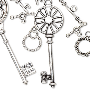 component, antiqued silver-finished pewter (zinc-based alloy), 14.5mm-73x26mm assorted key and toggle clasp. sold per pkg of 10.