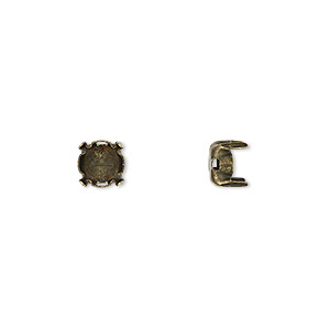 component, beadalon, antique brass-finished brass 6mm round cup with 6mm 4-prong round setting with 1.4x0.9mm-1.5x0.9mm hole. sold per pkg of 15.
