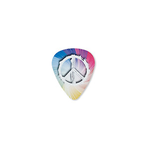 component, celluloid plastic, multicolored, 30x25.5mm double-sided guitar pick with peace sign and rainbow swirl design. sold per pkg of 2.