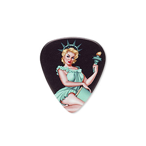component, celluloid plastic, multicolored, 30x26mm double-sided guitar pick with liberty design. sold per pkg of 2.