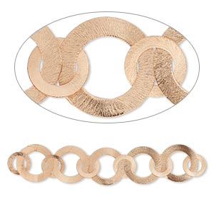 component, copper, 35mm and 22mm brushed flat round, 7-1/2 inches. sold individually.