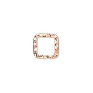 component, copper-plated steel, 12x12mm double-sided hammered open square. sold per pkg of 12.