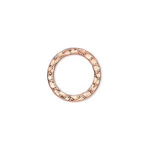 component, copper-plated steel, 16mm double-sided hammered open round. sold per pkg of 12.