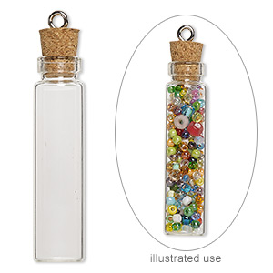 component, glass / cork / nickel-finished steel, clear, 45x11mm bottle with stopper and screw eye. sold per pkg of 100.