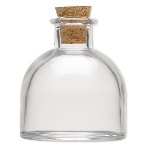 component, glass and cork, clear, 2-1/2 x 2 inch bottle with stopper and 14.5mm opening. sold individually.