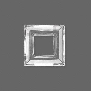 component, glass, clear, 20x20mm faceted open square. sold individually.