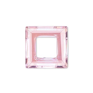 component, glass, pink ab, 20x20mm faceted open square. sold individually.