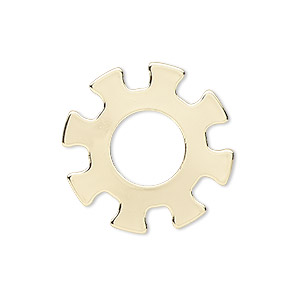 component, gold-finished steel, 25mm gear with 10.5mm center hole. sold per pkg of 6.