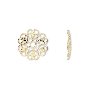 component, gold-plated brass, 15mm filigree round. sold per pkg of 50.