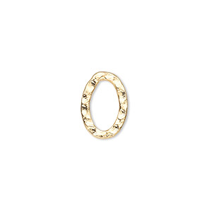 component, gold-plated steel, 14x10mm double-sided hammered flat open oval. sold per pkg of 12.