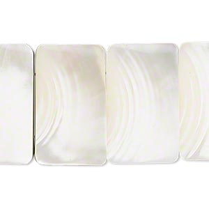 component, laminated trocha shell (natural), 25x15mm rectangle. sold per 14-piece set.