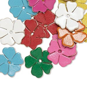 component, leather (dyed), assorted colors, 14x14mm flower. sold per pkg of 16.