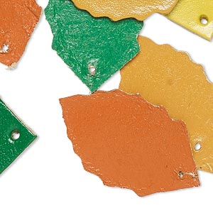 component, leather (dyed), assorted colors, 33x20mm leaf. sold per pkg of 8.