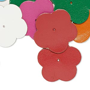 component, leather (dyed), assorted colors, 36x35mm flower. sold per pkg of 16.