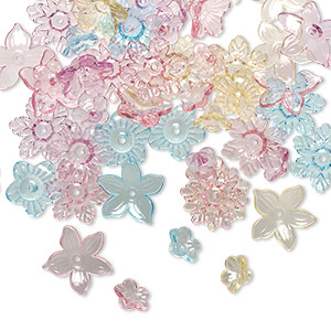 component mix, acrylic, transparent multicolored, 12x12mm-21x20mm center-drilled flower. sold per 1/4 pound pkg, approximately 250 components.