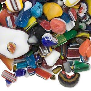 component mix, cane and millefiori glass, mixed colors, 4x3mm-62x40mm mixed shape. sold per 1-pound pkg, approximately 170-2,000 components.