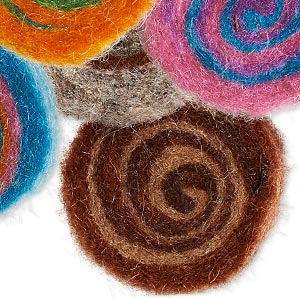 component mix, felt, multicolored, 30mm undrilled flat round with spiral pattern. sold per pkg of 12.