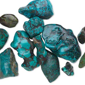 component mix, turquoise (dyed / stabilized), blue, small to gigantic undrilled nugget, mohs hardness 5 to 6. sold per pkg of 12.