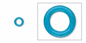 component, oh! ring™, rubber, light blue, 5mm round with 3mm hole. sold per pkg of 500.