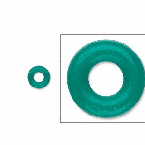 component, oh! ring™, rubber, light green, 7mm round with 3mm hole. sold per pkg of 300.