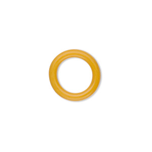 component, oh! ring™, rubber, yellow, 15mm round with 10mm hole. sold per pkg of 100.